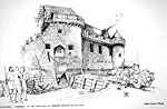 Morton Castle (Reconstruction drawing of demolition)