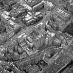 Aerial view of Royal Mile with St Giles and Cockburn Street from the northeast
