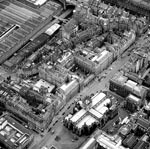 Aerial view of St Giles, Parliament Square and Cockburn Street from the southwest