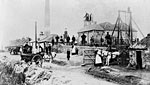 19th century view of miners and their families at Prestonlinks Colliery, Prestonpans, East Lothian