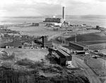 Aerial view of Longannet Drift Mine and Power Station on the north shore of the Firth of Forth, Fife