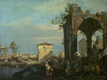 'A Caprice Landscape with Ruins' by Studio of Canaletto
