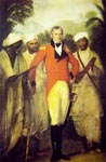 4.28 Col. Colin Mackenzie (1754-1821) with (left) his peon, Kistnaji; (right) his Jain pundit; and (behind) Cauvellery Ventak Letchmiah, his Telegu Brahmin pundit, c1825