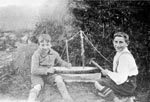 Gordon and Sandy Ingram with a toy boat, Huntly, Aberdeenshire, c.1930