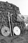 A stack of peat in Hamnavoe, South Yell, in 1957