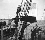 Weather Kite over Side of Ship