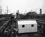 "Shipyard Workers on Deck of ""Scotia"" at Troon"
