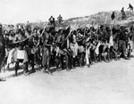 Group of South Africans performing a war dance, France, during World War I