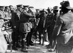 Members of S.A.N.L.C. being presented to a military official, France, during World War I