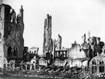 Ypres Cathedral in ruins, Ypres, Belgium, during World War I