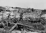 Abandoned German positions near Bapaume, France, during World War I