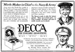 Advertisement for Decca portable gramophones