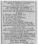 Advertisement for 'A New and Easy Method of Cookery' by Elizabeth Cleland, 1759
