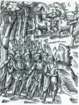 Woodcut illustration of a Medieval marching scene