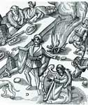 Woodcut illustration of a Medieval open-air feast scene