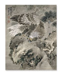 Gan Tai, 'Eagle and a Monkey', a hanging scroll