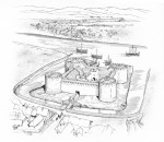 A reconstruction drawing of Inverlochy Castle around 1300