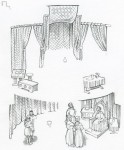 Reconstruction drawing showing the interior of Inverlochy Castle