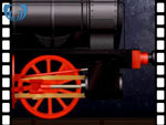 Animation of piston rod and wheel from locomotive (video clip)